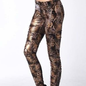 Snake Print Pants Leather